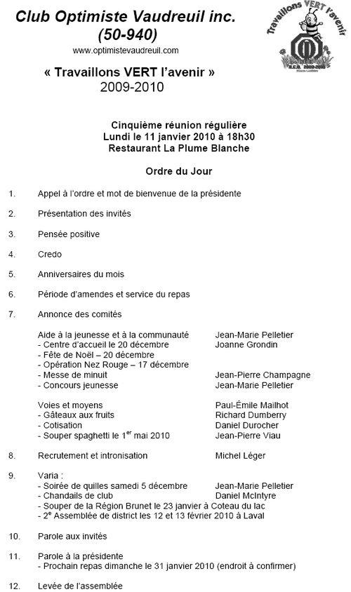Ordre du jour 11 janvier 2010
