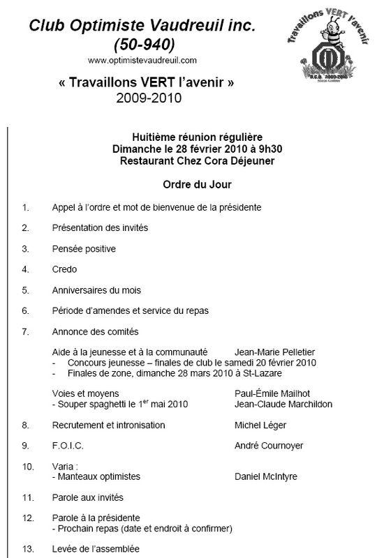 Ordre du jour Cora 28 février 2010