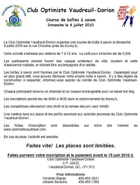 Course de boite à savon club optimiste Vaudreuil-Dorion