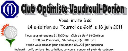 Tournoi Golf club optimiste Vaudreuil-Dorion 2011