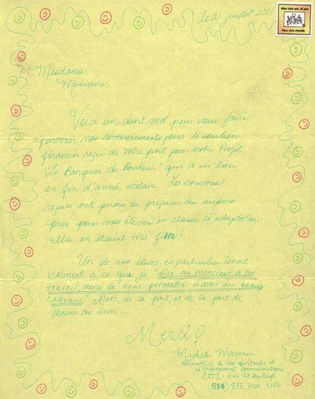 Lettre de remrciement de l'école St-Jean Baptiste, mai 2011