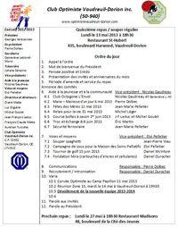 Ordre du jour lundi 13 mai 2013.