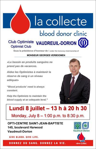 Collecte de sang club optimiste de Vaudreuil-Dorion 2013