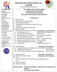 Ordre du jour lundi 10 juin 2013.