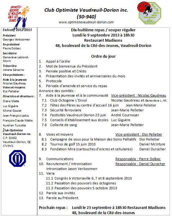 Ordre du jour 9 septembre 2013
