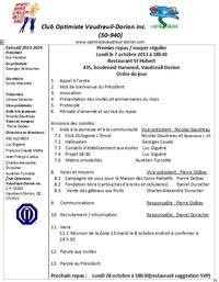 Ordre du jour lundi 7 octobre 2013