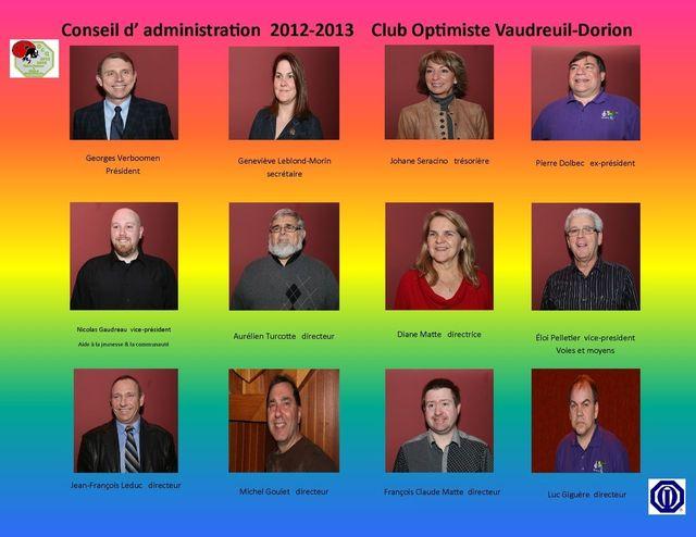 Conseil d' administration 2012-2013 Club Optimiste Vaudreuil-Dorion