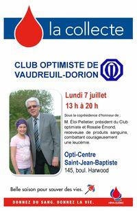 Collecte de sang du club optimiste de Vaudreuil-Dorion lundi 7 juillet 2014