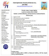 Ordre du jour repas  6 octobre 2014 Club optimiste Vaudreuil-Dorion