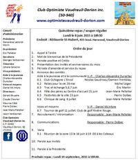 Ordre du jour club optimiste  Vaudreuil-Dorion 8 juin 2015