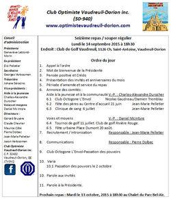 Ordre du jour club optimiste Vaudreuil-Dorion 14 septembre 2015