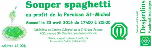 Souper spaghetti annuel du club optimiste de Vaudreuil-Dorion, le samedi 23 avril 2016