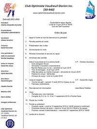 Ordre du jour 14e repas club optimiste Vaudreuil-Dorion 13 juin 2016