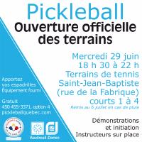 Ouverture du terrain extérieur de Pickleball 2016 Vaudreuil-Dorion