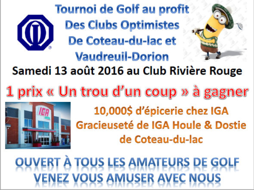 Tournoi Golf Inter club samedi 13 août 2016, Club optimiste Vaudreuil-Dorion & Coteau-du-Lac