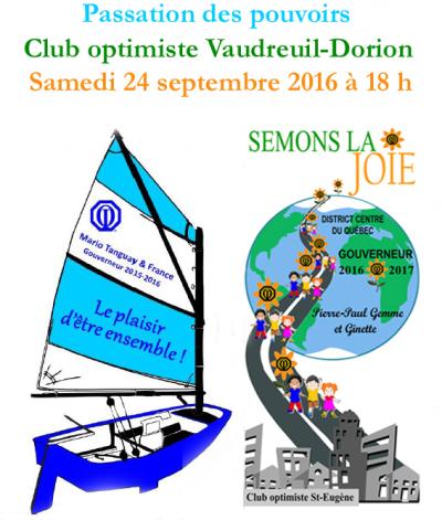 Passation des pouvoirs club optimiste Vaudreuil-Dorion, 24 septembre 2016