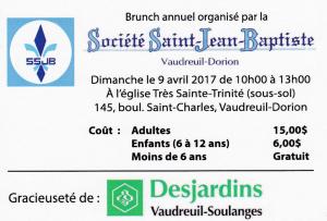 Brunch annuel Société Saint-Jean-Baptiste - Vaudreuil-Dorion - Dimanche 9 avril 2017