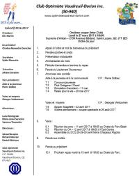 Ordre du jour 11e repas du club optimiste Vaudreuil-Dorion  lundi 27 mars 2017