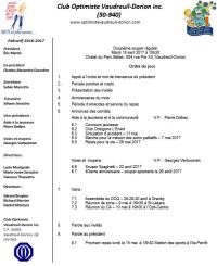 Ordre du jour 12e repas du club optimiste Vaudreuil-Dorion  mardi 18 avril  2017