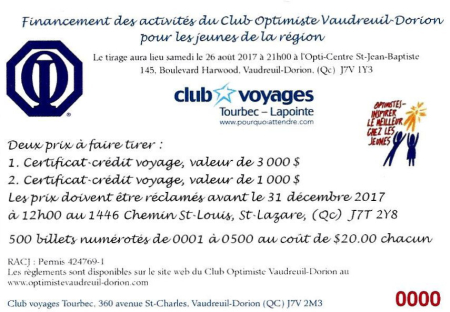 Tirage club optimiste Vaudreuil-Dorion  26 août 2017.