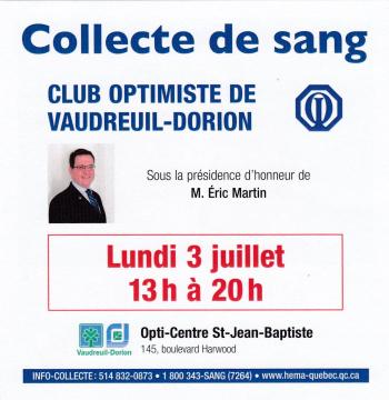 Collecte de sang du club optimiste Vaudreuil-Dorion  lundi 3 juillet 2017