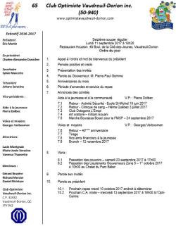 Ordre du jour  16e souper régulier lundi 11 septembre 2017  club optimiste Vaudreuil-Dorion