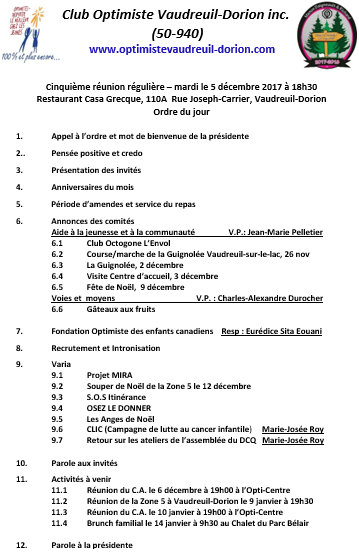 Ordre du jour  5e souper régulier le mardi 5 décembre 2017  club optimiste Vaudreuil-Dorion.
