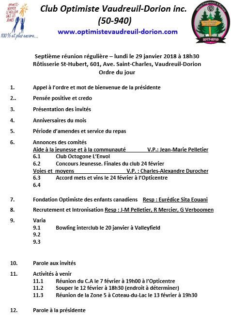 Ordre du jour 7e réunion régulière  lundi 29 janvier 2018 club optimiste Vaudreuil-Dorion
