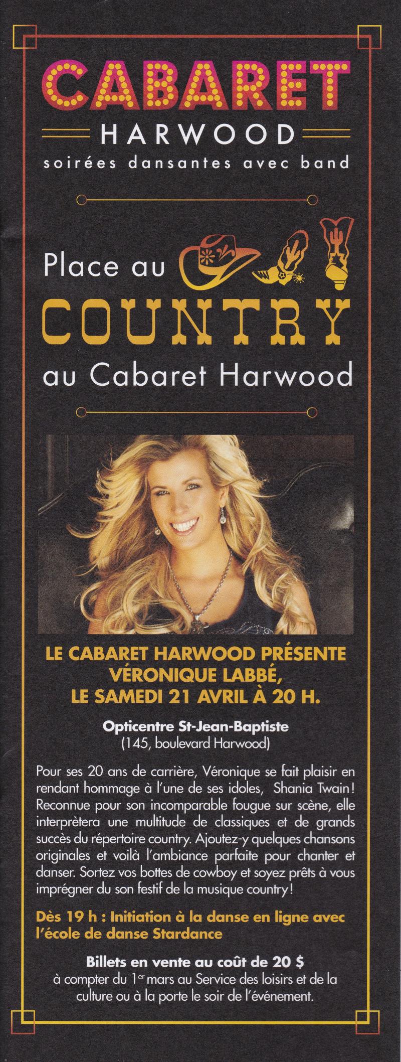 Cabaret Harwood  Soirée Country  présente Véronique Labbé  samedi 21 avril 2018