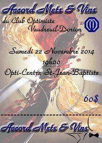 Accord Mets & Vins club optimiste Vaudreuil-Dorion 22 novembre 2014