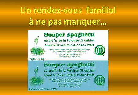 Souper Spahetti club optimiste Vaudreuil-Dorion 18 avril 2015
