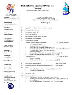Ordre du jour club optimiste Vaudreuil-Dorion  30 novembre