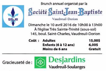 Brunch annuel Société Saint-Jean-Baptiste Vaudreuil-Dorion
