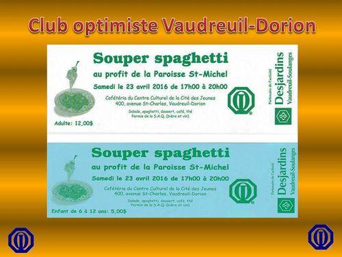 Souper spaghetti 2016 club optimiste Vaudreuil-Dorion