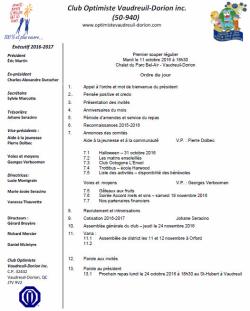 Ordre du jour 1er souper régulier club optimiste Vaudreuil-Dorion.