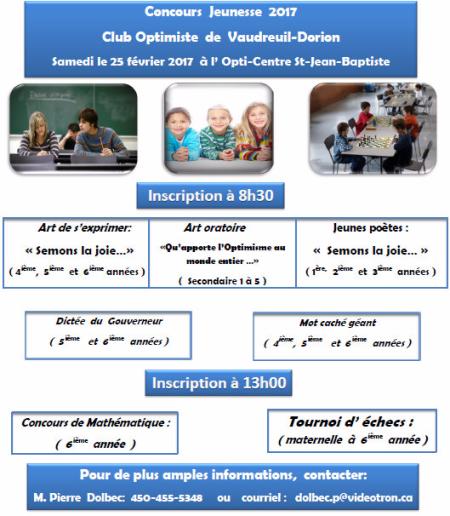 Concours Jeunesse club optimiste Vaudreuil-Dorion, 25 février 2017