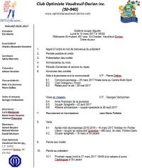 Ordre du jour  10e repas  lundi 13 mars 2017 club optimiste Vaudreuil-Dorion