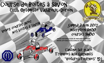 Affiche course de boîte à savons club optimiste Vaudreuil-Dorion samedi 3 juin 2017