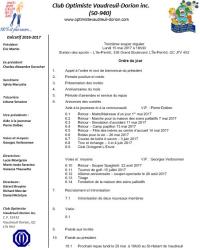 Ordre du jour  13e souper régulier le lundi 15 mai 2017  club optimiste Vaudreuil-Dorion