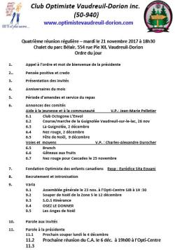 Ordre du jour  4e souper régulier le lundi 6 novembre 2017  club optimiste Vaudreuil-Dorion.