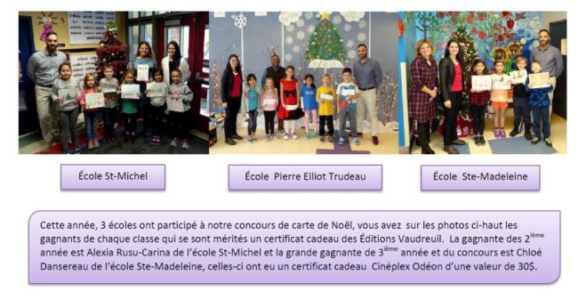 Gagnants carte Noël 2017 club optimiste Vaudreuil-Dorion
