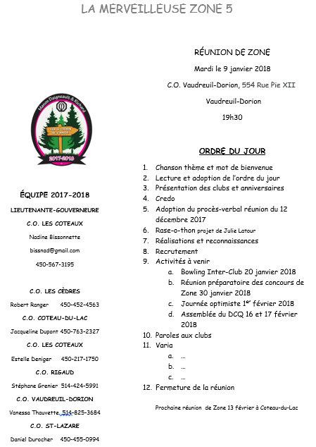 Ordre du jour  La Merveilleuse Zone 5  9 janvier 2018