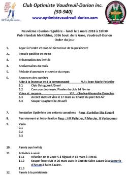 Ordre du jour  9e réunion régulière  lundi 5 mars 2018  club optimiste Vaudreuil-Dorion