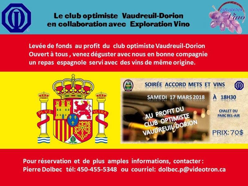 Soirée accord mets et vins du club optimiste Vaudreuil-Dorion  le 17 mars  2018.