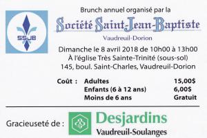 Brunch annuel  Société Saint-Jean-Baptiste Vaudreuil-Dorion  dimanche 8 avril 2018