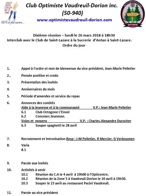 Ordre du jour  10e souper club optimiste Vaudreuil-Dorion  26 mars 2018
