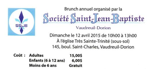 Brunch Société Saint-Jean-BaptisteVaudreuil-Dorion, 12 avril 2015