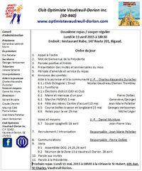 Ordre du jour club optimiste de Vaudreuil-Dorion du 13 avril 2015