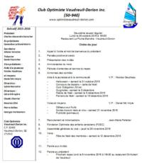 Ordre du jour club optimiste Vaudreuil-Dorion 26 octobre 2015