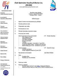Ordre du jour Club optimiste Vaudreuil-Dorion 7 mars 2016